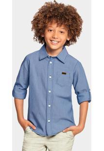 Camisa Tecido Tricoline Azul