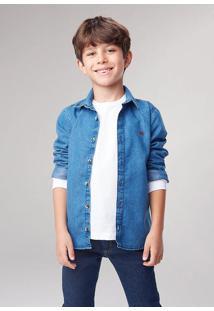 Camisa Jeans Infantil Menino Com Bordado Hering Kids