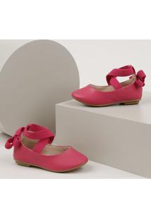 Sapatilha Infantil Baby Club Bico Redondo Com Elástico Cruzado Pink