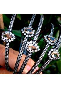 Bracelete Gota Com Zircônia Morganita Folheado A Ródio Negro