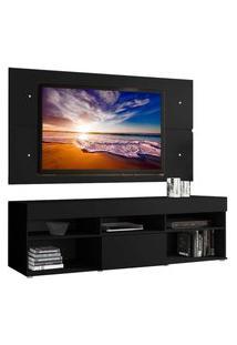 Rack Com Painel Para Tv Até 65 Polegadas Madesa Miami 1 Porta - Preto Preto