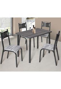 Conjunto De Mesa Com 4 Cadeiras - Poeme - Ciplafe - Branco / Preto