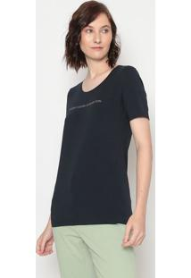 Camiseta Com Inscrições- Azul Marinho Prateada- Bebenetton