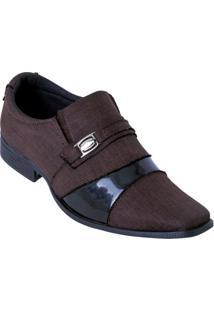 Sapato Café Em Tecido Com Sintético