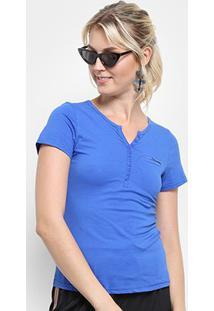 Camiseta Top Moda Botões Bolso Feminina - Feminino-Azul