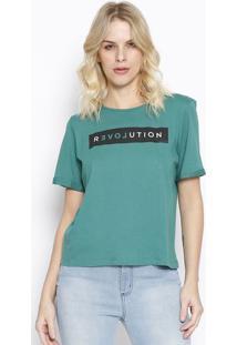 """Camiseta """"Revolution"""" Com Amarraã§Ã£O - Verde & Preta Sommer"""