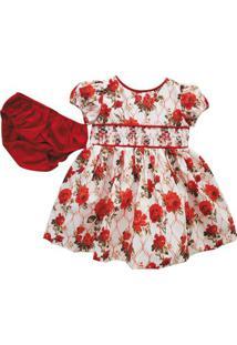 Vestido Infantil - Floral - Casinha De Abelha - 100% Algodão - Rosa E Vermelho - Turma Mixirica - Gg