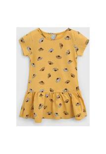 Vestido Hering Kids Infantil Floral Amarelo