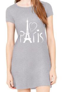 Vestido Criativa Urbana Estampado Paris - Feminino-Cinza
