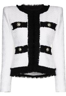 Balmain Jaqueta De Tweed Bicolor - Preto