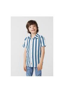 Camisa Hering Kids Infantil Manga Curta Em Tricoline Azul