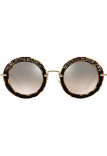 2014e737d1ded Miu Miu Eyewear Embellished Circle Sunglasses - Marrom