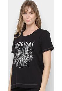 Camiseta Colcci Tropical Feminina - Feminino-Preto