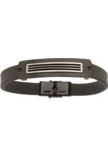 Bracelete De Aço Inox Black Tudo Joias Com 13Mm De Largura - Unissex-Preto