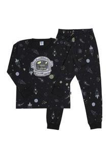 Pijama Meia Malha - 46572-263 - (1 A 3 Anos) Pijama Rotativo Preto - Primeiros Passos Menino Meia Malha Ref:46572-263-1