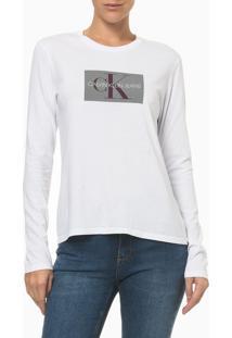 Camiseta Ml Ckj Fem Re Issue Retangulo - Branco - P