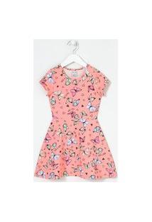 Vestido Infantil Em Cotton Estampa De Borboletas - Tam 5 A 14 Anos | Fuzarka (5 A 14 Anos) | Rosa | 11-12