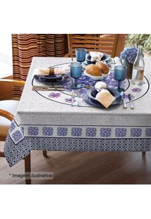 Toalha De Mesa 4 Lugares Felicia- Azul Marinho & Branca