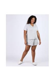 Pijama Feminino Plus Size Camisa Com Vivo Contrastante E Bolso Manga Curta Cinza Mescla Claro