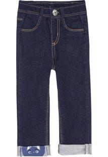 Calça Infantil Bebê Menino Em Moletom Jeans Com Detalhe Na Barra Puc