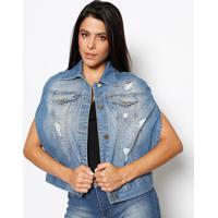 Colete Jeans Estonado - Azulsawary cd6223ac63b0e