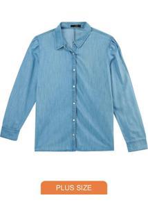 Camisa Azul Claro Slim Em Jeans Leve
