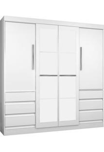 Guarda-Roupa Casal Com Espelho 4Pt 6Gv Atraente Branco