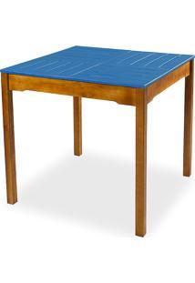 Mesa De Jantar Compacta De Madeira Maciça Taeda Natural Com Tampo Colorido Olga - Verniz Nozes/Azul 80X80X75Cm