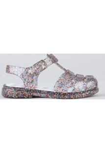 Sandália Infantil Com Glitter Transparente