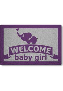 Tapete Capacho Welcome Baby Girl - Prata