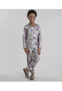 Pijama Estampado De Dinossauros Cinza