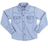 3a1ab0eb07b50 Camisa Jeans Manga Longa Tdv Juvenil Para Menino Azul