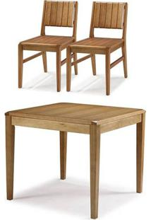 Conjunto Salvador Mesa Jantar 90Cm Tampo Madeira + 2 Cadeiras Assento Madeira - 60510 - Sun House