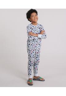 Pijama Infantil Estampado Video Game Em Moletom Cinza Mescla