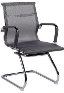 Cadeira Office Eames Tela- Cinza & Prateada- 89X54,5Or Design
