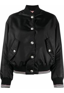 Miu Miu Cat Embroidery Bomber Jacket - Preto