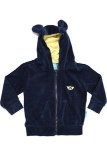 Casaco Jokenpô Bebê Plush Capuz Orelhas Azul