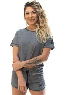 Camiseta Cropped Shatark Mystic - Preto Mescla - Kanui