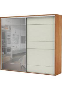 Armario Premium Com Espelho 2 Portas E 4 Gavetas Cor Freijo Com Off White Brilho 2,67 Mt (Larg) - 56461 - Sun House