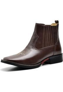 Bota Country Texana Top Franca Shoes Pull Up Café