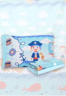 Jogo De Cama 3Pçs Solteiro Santista Infantil Pirata Azul
