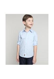 Camisa Infantil Estampada De Poá Com Bolso Manga Longa Azul Claro