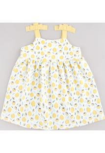 Vestido Infantil Estampado De Limões Com Laços Alça Média Branco