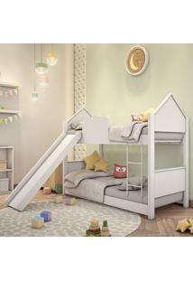 Beliche Infantil Casa Branca Com Escorregador Casah - Branco - Dafiti