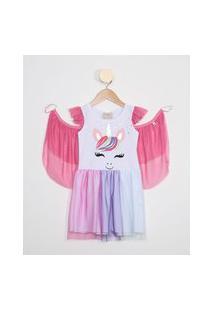 Vestido Infantil De Tule Unicórnio Manga Curta + Asa Branco