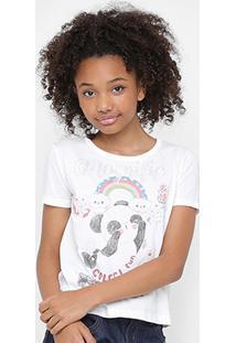 Camiseta Infantil Colcci Fun Estampada Feminina - Feminino-Off White