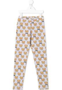 Moschino Kids Legging Com Estampa Teddy - Cinza