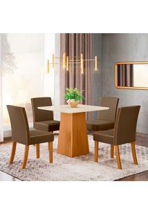 Conjunto De Mesa Com 4 Cadeiras Para Sala De Jantar Bona-Henn - Nature / Off White / Bege