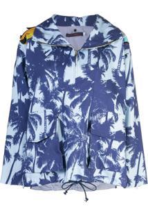 Harvey Faircloth Jaqueta Impermeável Com Estampa De Palmeira - Azul