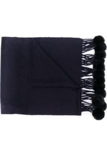 N.Peal Cachecol De Pele De Coelho - Azul